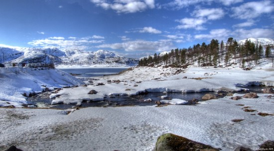 Ice snow landscape lake river winter Norway
