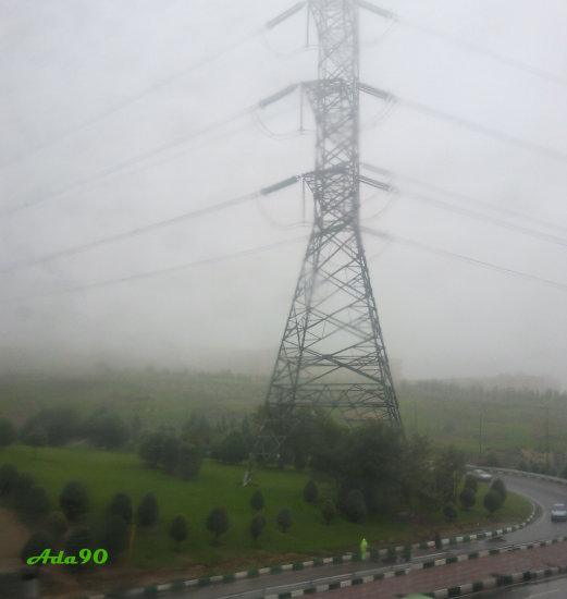 wire cable environment fog rain highway