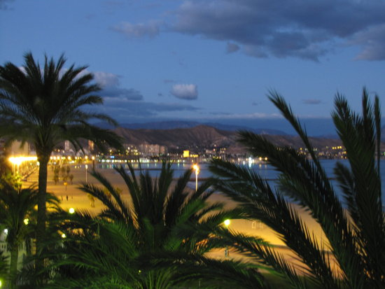 Spain El Campello beach at night