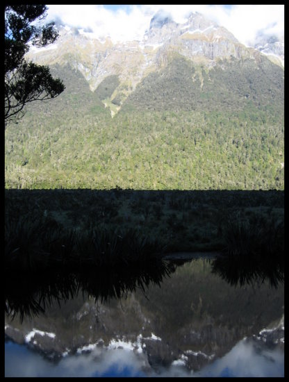 newzealand mountain lake reflection
