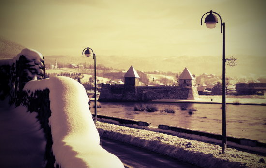 croatia fortress fort old architecture landscape history sepia snow