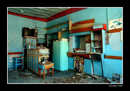 greece lesvos summer interior old abandoned cafe