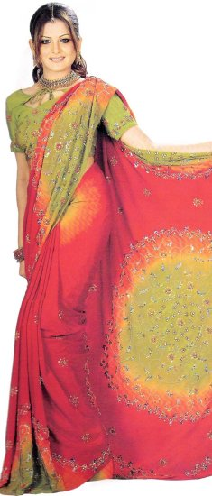 Blouse with Saree Georgette Dealer Red