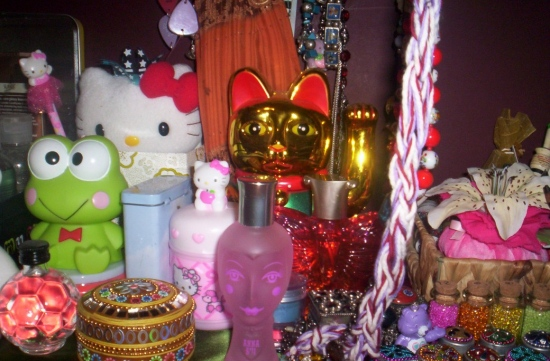 My desk - I love putting lots of my pretty objects next to me on my desk ;)