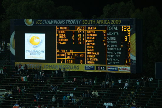 Cricket scoreboard,Wanderers Stadium South Africa