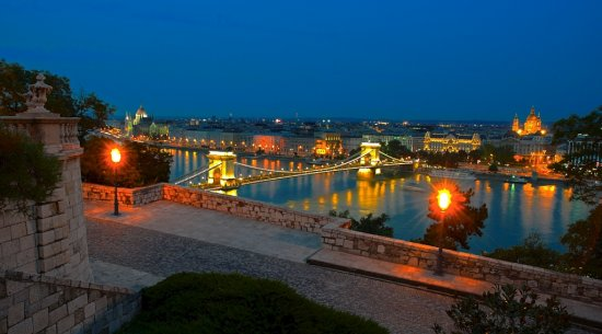 evening blue hour Budapest Hungary cityscape Danube
