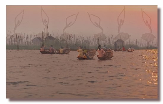 myanmar burma inlelake sunset people ballet boat burmx inlex sunsx peopx boatb