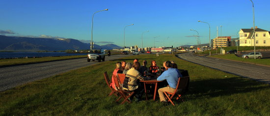 Party late in the evening in the middle of a highway in Reykjavik Iceland  You can see my video ...