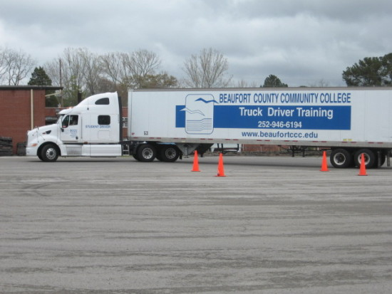 Local junior college offers driver training for would-be truckers.  This is a practice lot.