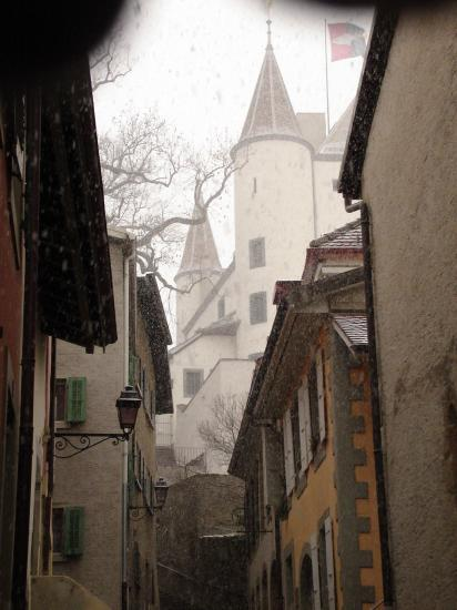 A castle in Nyon- it was snowing really hard so I put a raincoat over the camera and sadly didn't...