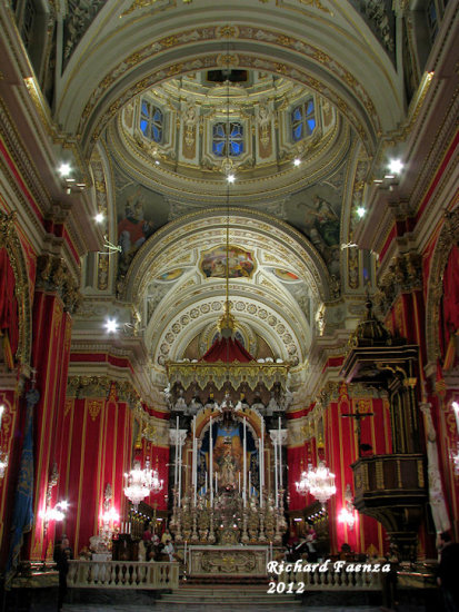 The interior of a church in Cospicua - Malta.