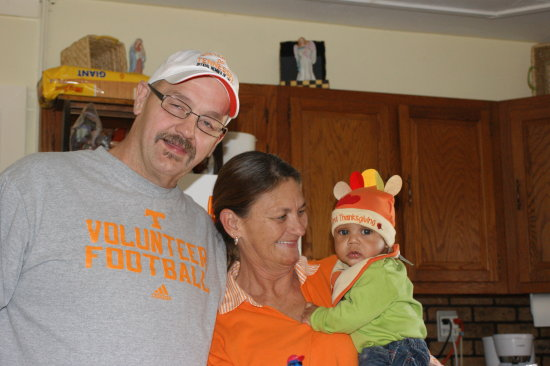 MY WIFES BROTHER TOMMY WIFE SANDY AND KAMREN THE TURKEY