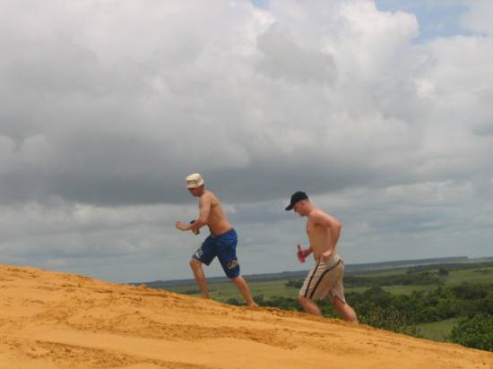 running up the dunes at mosambiek