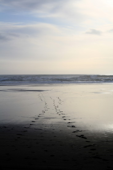 abstract karekare beach footprints