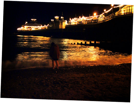 paddling eastbourne england pier lights sea ocean