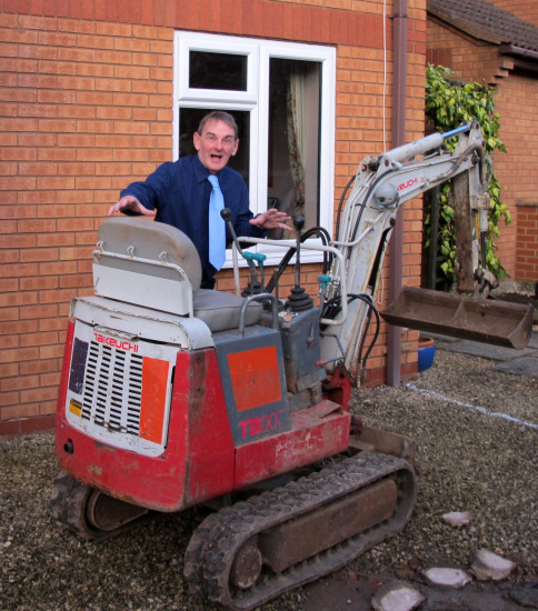 2. Somebody was very excited when a digger arrived!!