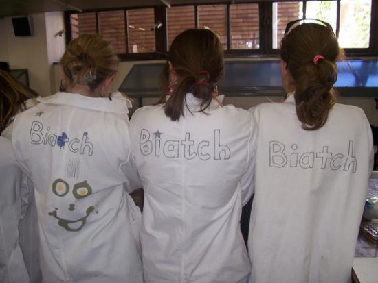 The Three Biatches. As written on the back of our lab coats.