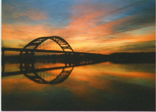 sunrise bridge river