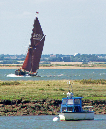 Thames barge tacking up the River Blackwater