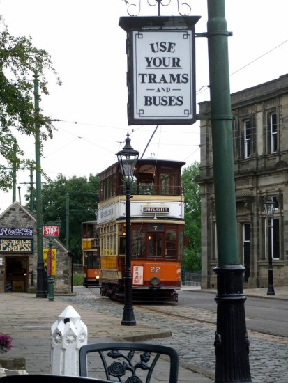 england crich architecture vehicles trams landscape signs