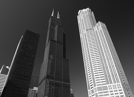 Chicago architecture black and white bw skyscrapers buildings