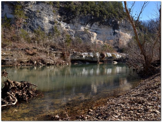 reflectionthursday buffalonationalriver ice bluff river shineye gravelbar ozarks
