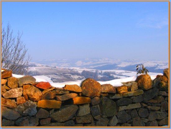 winter France Beaujolais stones gold sky wall landscape
