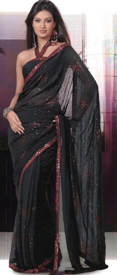 Black Faux Crepe Saree with Blouse