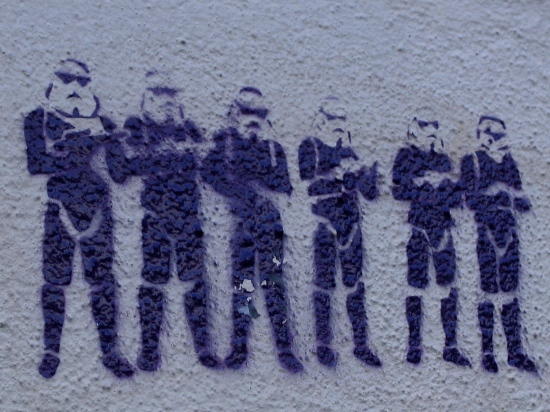 wars star troopers storm grafitti Lewes Sussex Canon G5 saturday march 4th 2006