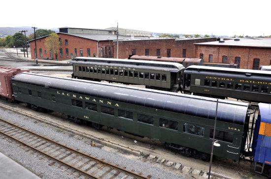 steamtown scranton pennsylvania railroad train buildings yard view