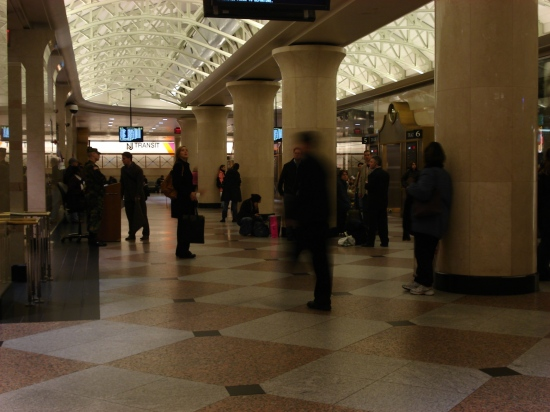 Penn Station, NYC. Today, waiting to board a train to Netcong, NJ.
