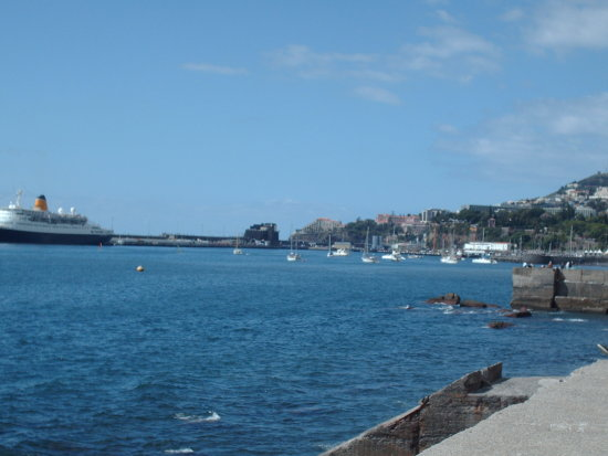 2008 portugal madeira funchal view port ship liner ocean blue sea islet city
