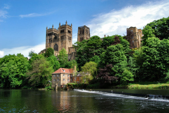 Durham cathedral England river weir UK