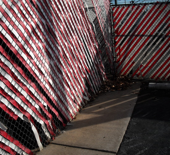 red white chainlink fence