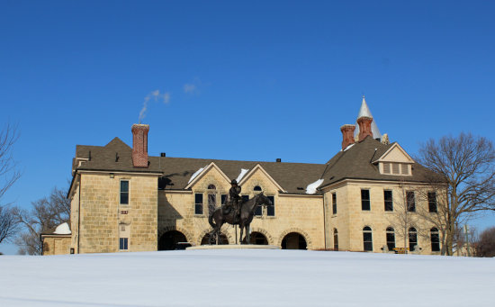 Calvary Museum Fort Riley, Kansas on a snowy day