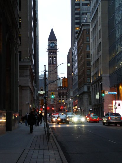At 7:18pm.On Bay St.,at Adelaide St.W.,Toronto,Ont.,On Friday,Mar.22,2013