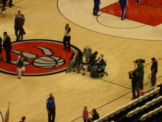 At 6:50pm-ACC-they starting to bring out some War Veterns before the game started-few minutes in ...