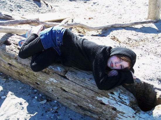 daughter girl beach log ocean Home Washington black