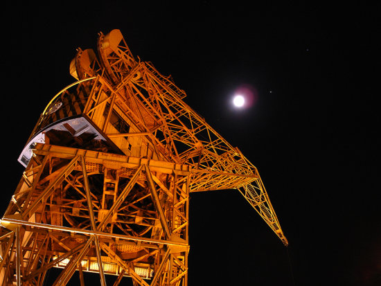 Night lights moon dark black derrick Buenos Aires Argentina Port Puerto Arrojo
