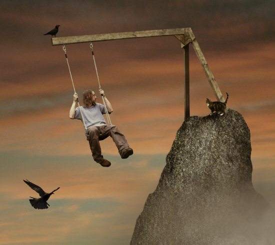 swing break photomontage crows cat selfportrait