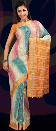 Indian Fashion Garment Dealer Off White Soft Crush Saree with Blouse