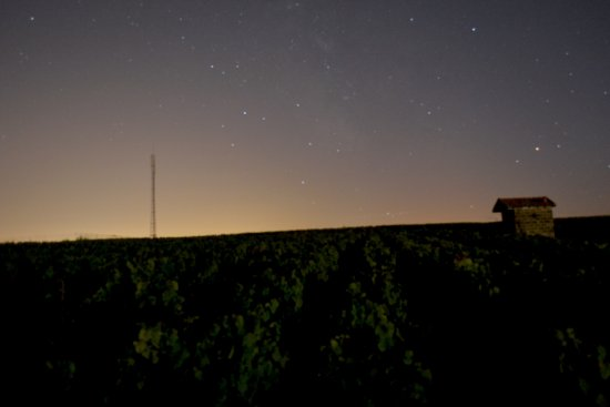 Stars milkyway night vines beaujolais sky light caban vineyard
