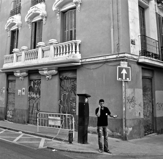 Man Corner Phone BlackandWhite Spain Madrid