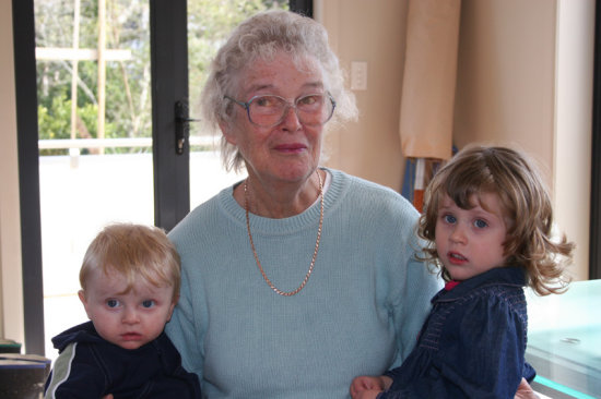 The kids with Grandma at cousin Sophie's party.