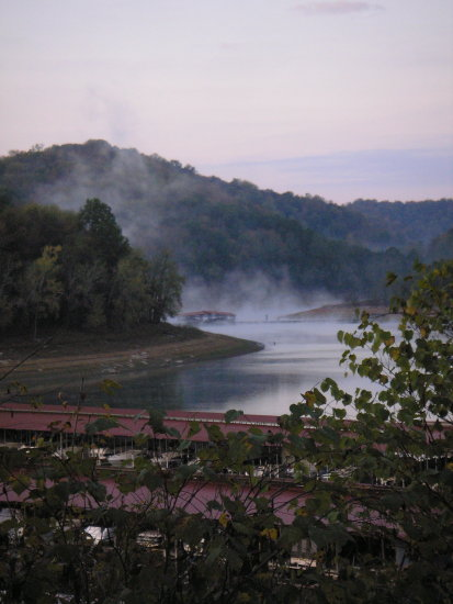 landscape lake water boat fog Center Hill Lake Tennessee leisure sunrise