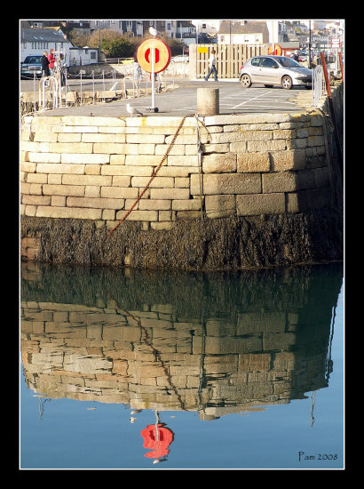 quay harbour wall reflectionthursday reflection sea coast cornwall