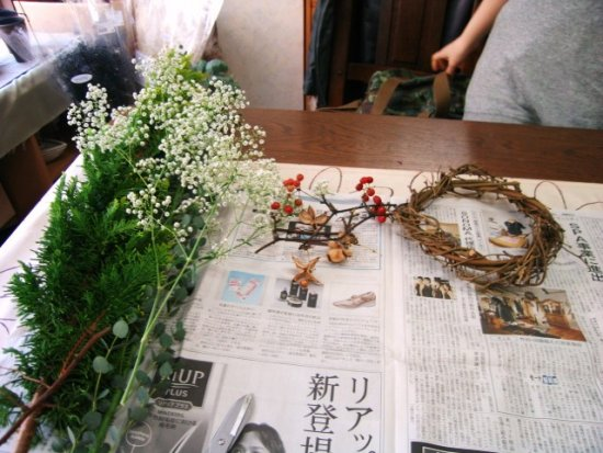 Hand made a Xmas wreath in the flower arrangement shool with my friend