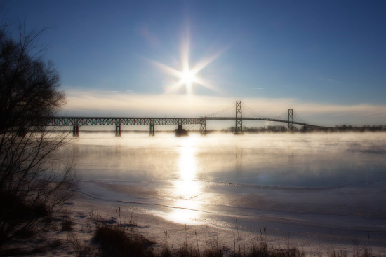 Winter sunrise over the St. Lawrence River.