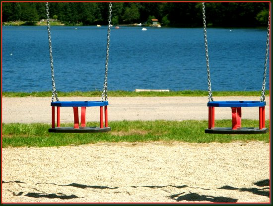 swing summer France lake nature sand