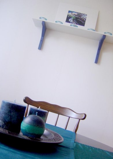 kitchen blue shelf